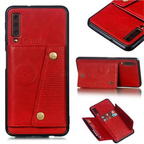 Retro Multifunction Card Slots Stand Leather Coated Phone Back Cover for Samsung Galaxy A7 (2018) A750 - Red