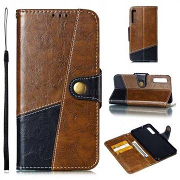 Retro Magnetic Stitching Wallet Flip Cover for Samsung Galaxy A7 (2018) A750 - Brown
