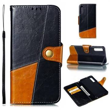 Retro Magnetic Stitching Wallet Flip Cover for Samsung Galaxy A7 (2018) A750 - Black