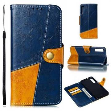 Retro Magnetic Stitching Wallet Flip Cover for Samsung Galaxy A7 (2018) A750 - Blue