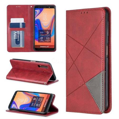 Prismatic Slim Magnetic Sucking Stitching Wallet Flip Cover for Samsung Galaxy A7 (2018) A750 - Red