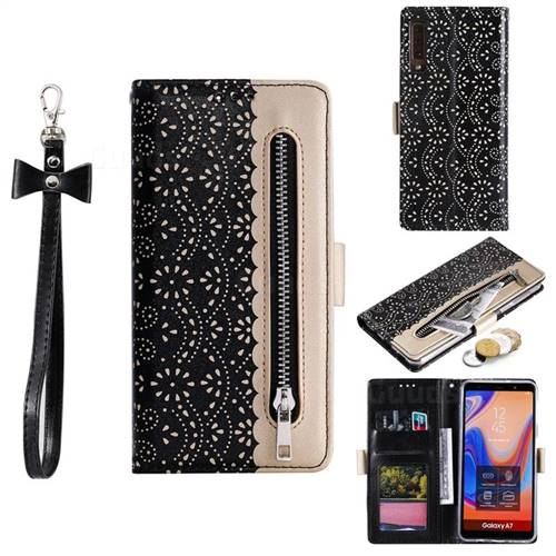 Luxury Lace Zipper Stitching Leather Phone Wallet Case for Samsung Galaxy A7 (2018) A750 - Black