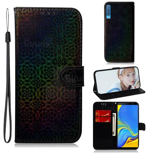 Laser Circle Shining Leather Wallet Phone Case for Samsung Galaxy A7 (2018) A750 - Black