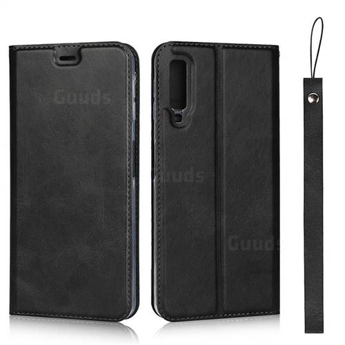 Calf Pattern Magnetic Automatic Suction Leather Wallet Case for Samsung Galaxy A7 (2018) A750 - Black
