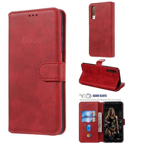 Retro Calf Matte Leather Wallet Phone Case for Samsung Galaxy A7 (2018) A750 - Red