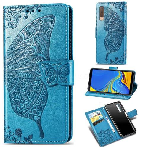 Embossing Mandala Flower Butterfly Leather Wallet Case for Samsung Galaxy A7 (2018) A750 - Blue