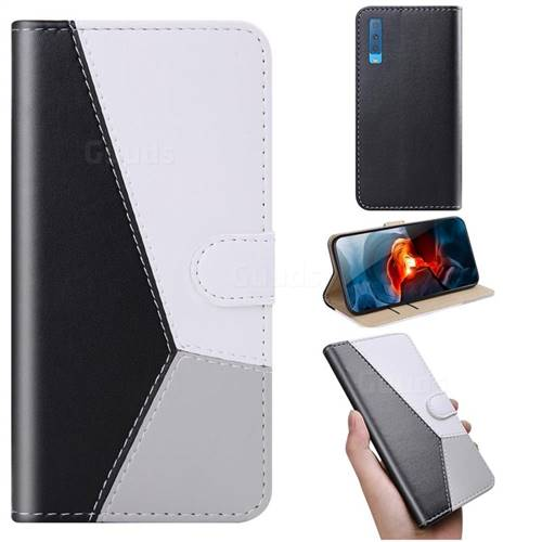Tricolour Stitching Wallet Flip Cover for Samsung Galaxy A7 (2018) A750 - Black