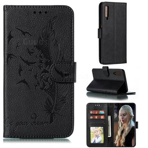 Intricate Embossing Lychee Feather Bird Leather Wallet Case for Samsung Galaxy A7 (2018) A750 - Black