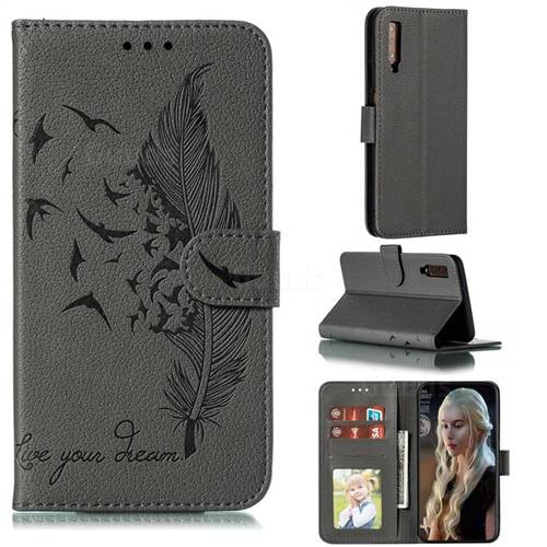 Intricate Embossing Lychee Feather Bird Leather Wallet Case for Samsung Galaxy A7 (2018) A750 - Gray