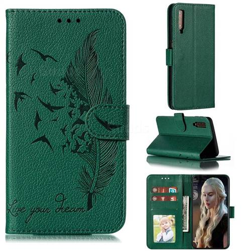 Intricate Embossing Lychee Feather Bird Leather Wallet Case for Samsung Galaxy A7 (2018) A750 - Green