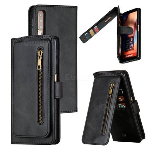 Multifunction 9 Cards Leather Zipper Wallet Phone Case for Samsung Galaxy A7 (2018) A750 - Black