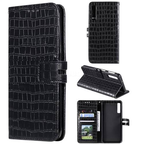 Luxury Crocodile Magnetic Leather Wallet Phone Case for Samsung Galaxy A7 (2018) A750 - Black