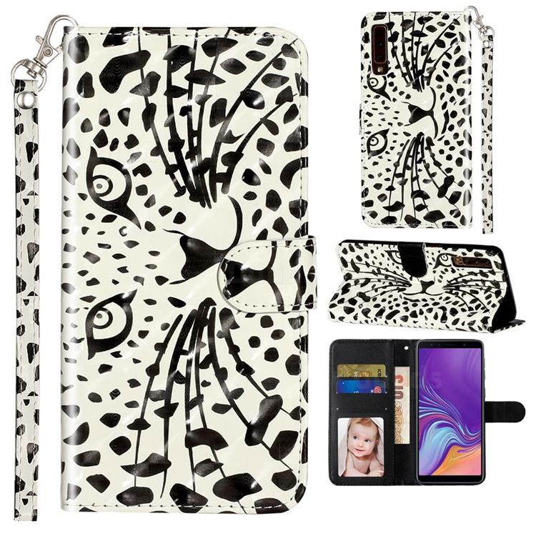 Leopard Panther 3D Leather Phone Holster Wallet Case for Samsung Galaxy A7 (2018) A750
