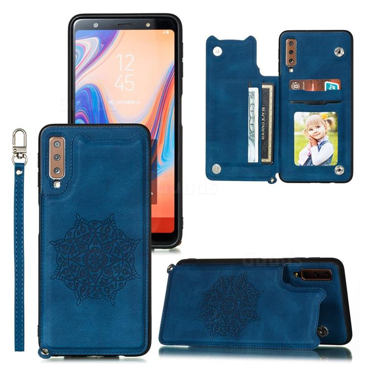 Luxury Mandala Multi-function Magnetic Card Slots Stand Leather Back Cover for Samsung Galaxy A7 (2018) A750 - Blue