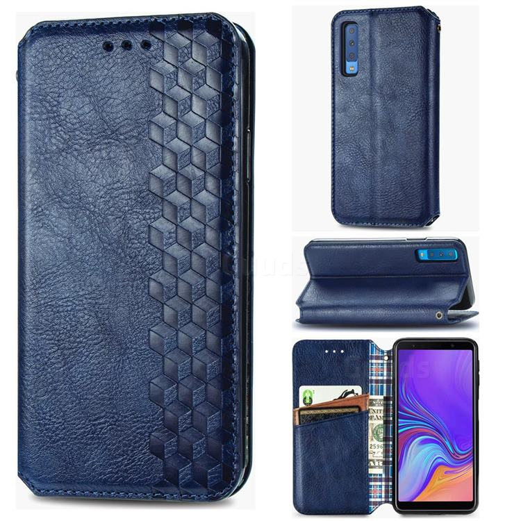 Ultra Slim Fashion Business Card Magnetic Automatic Suction Leather Flip Cover for Samsung Galaxy A7 (2018) A750 - Dark Blue