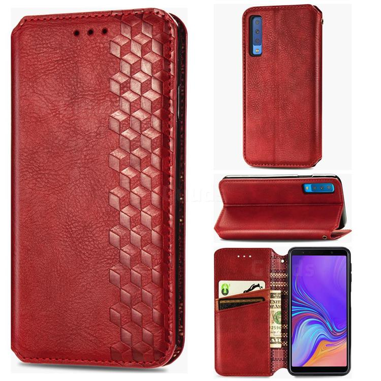 Ultra Slim Fashion Business Card Magnetic Automatic Suction Leather Flip Cover for Samsung Galaxy A7 (2018) A750 - Red