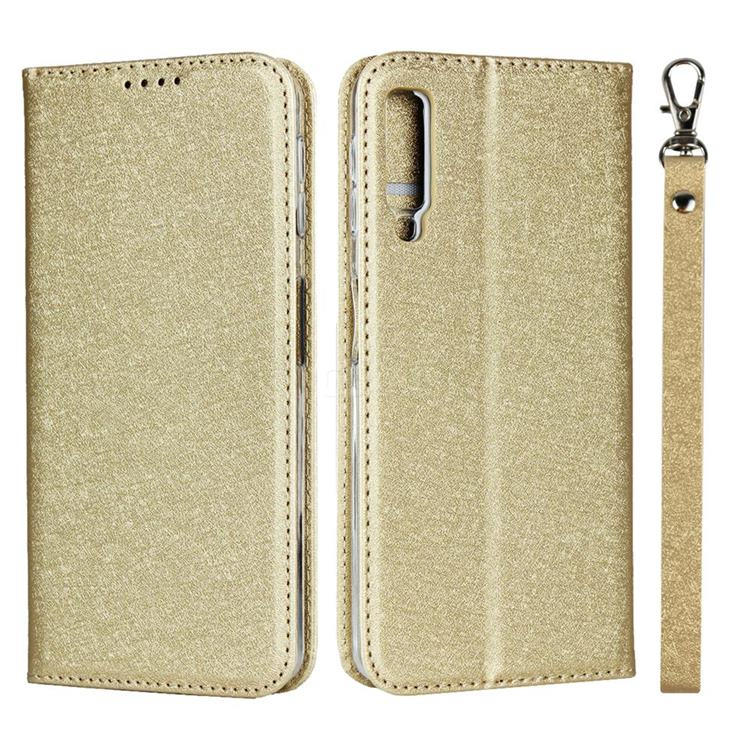 Ultra Slim Magnetic Automatic Suction Silk Lanyard Leather Flip Cover for Samsung Galaxy A7 (2018) A750 - Golden