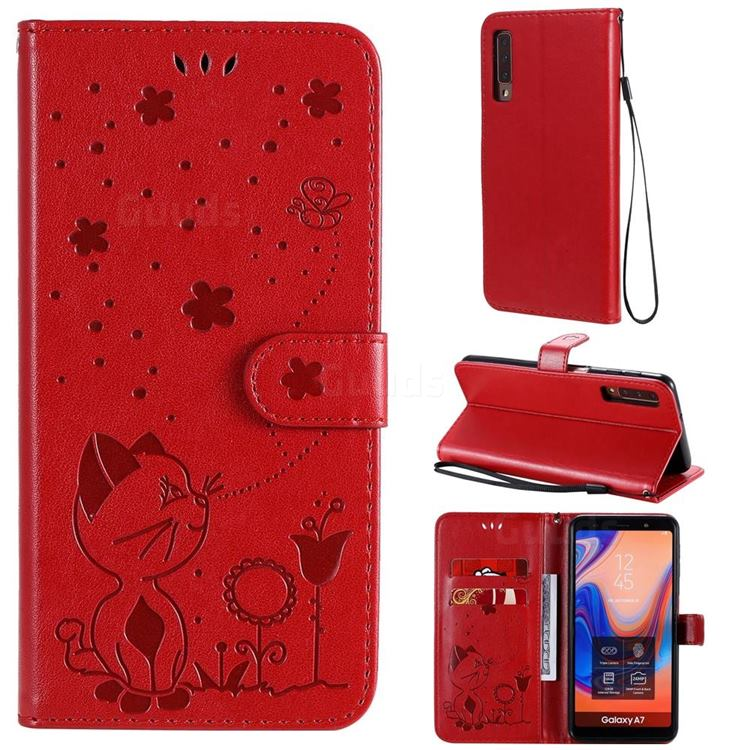 Embossing Bee and Cat Leather Wallet Case for Samsung Galaxy A7 (2018) A750 - Red