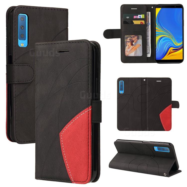 Luxury Two-color Stitching Leather Wallet Case Cover for Samsung Galaxy A7 (2018) A750 - Black