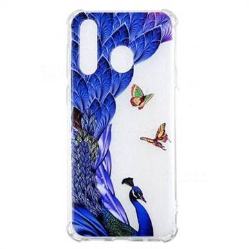 Peacock Butterfly Anti-fall Clear Varnish Soft TPU Back Cover for Samsung Galaxy A8s