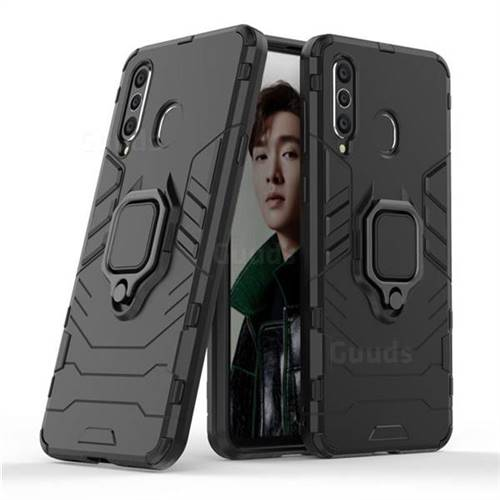 Black Panther Armor Metal Ring Grip Shockproof Dual Layer Rugged Hard Cover for Samsung Galaxy A8s - Black