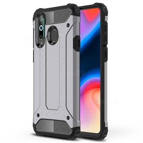 King Kong Armor Premium Shockproof Dual Layer Rugged Hard Cover for Samsung Galaxy A8s - Silver Grey
