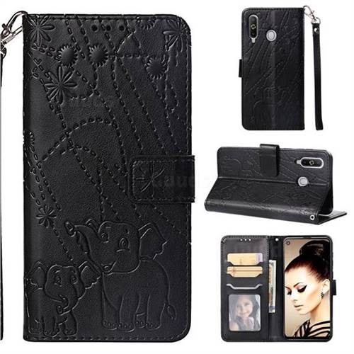 Embossing Fireworks Elephant Leather Wallet Case for Samsung Galaxy A8s - Black