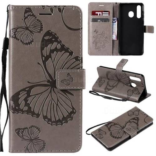 Embossing 3D Butterfly Leather Wallet Case for Samsung Galaxy A8s - Gray