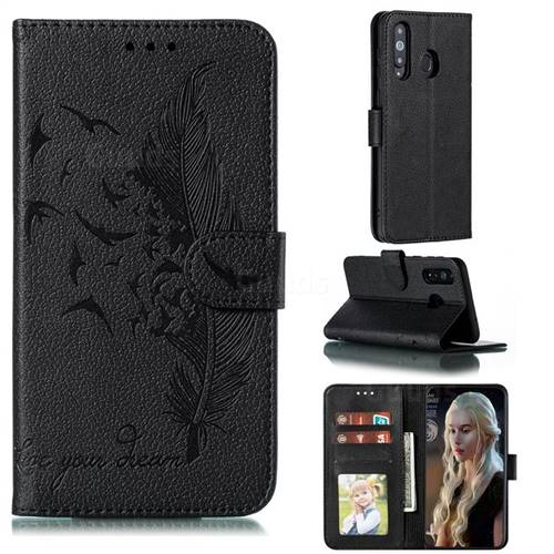 Intricate Embossing Lychee Feather Bird Leather Wallet Case for Samsung Galaxy A8s - Black