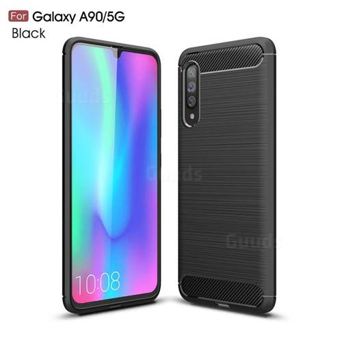 Luxury Carbon Fiber Brushed Wire Drawing Silicone TPU Back Cover for Samsung Galaxy A90 5G - Black