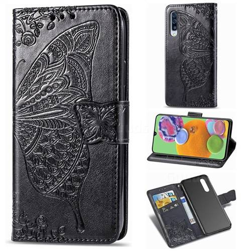 Embossing Mandala Flower Butterfly Leather Wallet Case for Samsung Galaxy A90 5G - Black