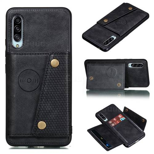 Retro Multifunction Card Slots Stand Leather Coated Phone Back Cover for Samsung Galaxy A90 5G - Black