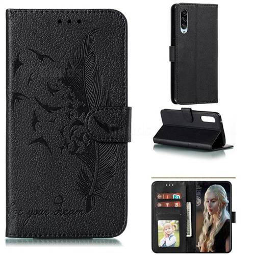Intricate Embossing Lychee Feather Bird Leather Wallet Case for Samsung Galaxy A90 5G - Black