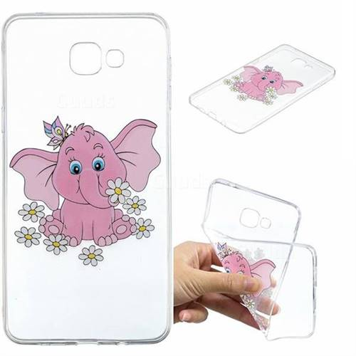 Tiny Pink Elephant Clear Varnish Soft Phone Back Cover for Samsung Galaxy A9 (2018) / A9 Star Pro / A9s