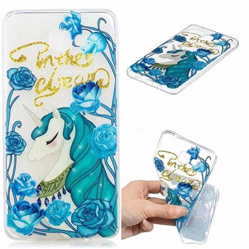 Blue Flower Unicorn Clear Varnish Soft Phone Back Cover for Samsung Galaxy A9 (2018) / A9 Star Pro / A9s