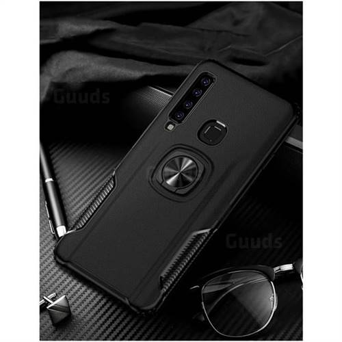 Knight Armor Anti Drop PC + Silicone Invisible Ring Holder Phone Cover for Samsung Galaxy A9 (2018) / A9 Star Pro / A9s - Black