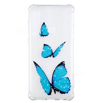 Blue butterfly Anti-fall Clear Varnish Soft TPU Back Cover for Samsung Galaxy A9 (2018) / A9 Star Pro / A9s