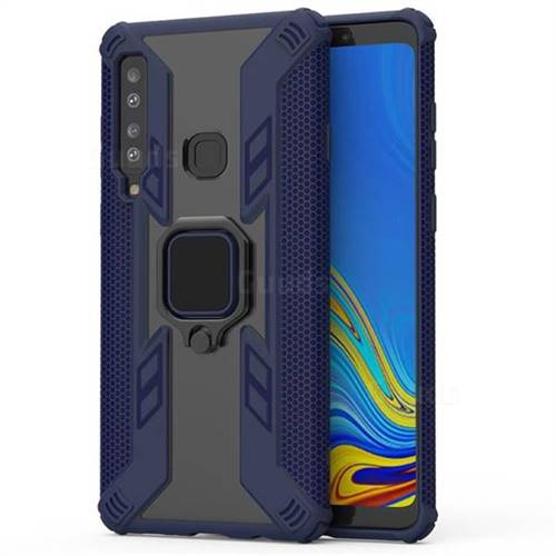 Predator Armor Metal Ring Grip Shockproof Dual Layer Rugged Hard Cover for Samsung Galaxy A9 (2018) / A9 Star Pro / A9s - Blue