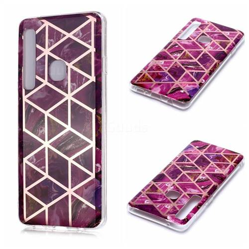 Purple Rhombus Galvanized Rose Gold Marble Phone Back Cover for Samsung Galaxy A9 (2018) / A9 Star Pro / A9s