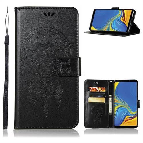 Intricate Embossing Owl Campanula Leather Wallet Case for Samsung Galaxy A9 (2018) / A9 Star Pro / A9s - Black