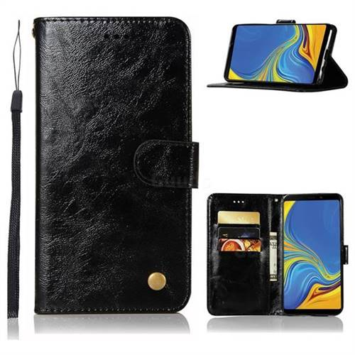 Luxury Retro Leather Wallet Case for Samsung Galaxy A9 (2018) / A9 Star Pro / A9s - Black