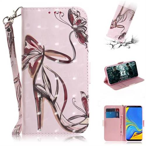 Butterfly High Heels 3D Painted Leather Wallet Phone Case for Samsung Galaxy A9 (2018) / A9 Star Pro / A9s
