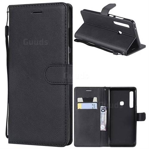 Retro Greek Classic Smooth PU Leather Wallet Phone Case for Samsung Galaxy A9 (2018) / A9 Star Pro / A9s - Black