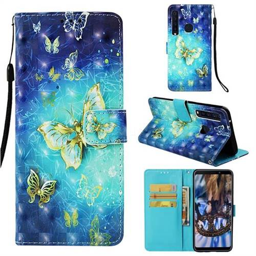 Gold Butterfly 3D Painted Leather Wallet Case for Samsung Galaxy A9 (2018) / A9 Star Pro / A9s