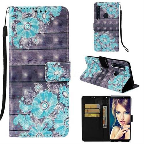 Blue Flower 3D Painted Leather Wallet Case for Samsung Galaxy A9 (2018) / A9 Star Pro / A9s