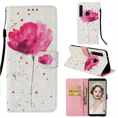 Watercolor 3D Painted Leather Wallet Case for Samsung Galaxy A9 (2018) / A9 Star Pro / A9s
