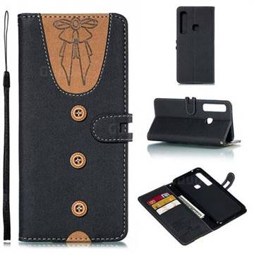 Ladies Bow Clothes Pattern Leather Wallet Phone Case for Samsung Galaxy A9 (2018) / A9 Star Pro / A9s - Black
