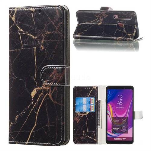 Black Gold Marble PU Leather Wallet Case for Samsung Galaxy A9 (2018) / A9 Star Pro / A9s