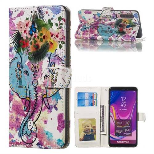 Flower Elephant 3D Relief Oil PU Leather Wallet Case for Samsung Galaxy A9 (2018) / A9 Star Pro / A9s