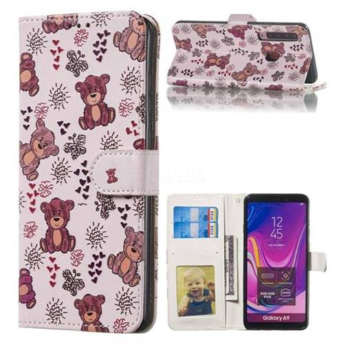 Cute Bear 3D Relief Oil PU Leather Wallet Case for Samsung Galaxy A9 (2018) / A9 Star Pro / A9s